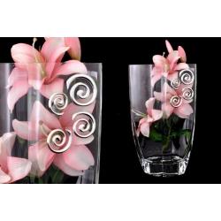 Ваза декоративная 30 см с искусственными цветами (розовыми).Стекло и хрусталь