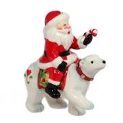 Подвеска, 8 см, Дед Мороз на медведе