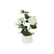 Декоративные цветы Розы белые в керамической вазе