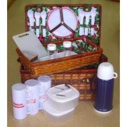 Набор для пикника из темного бамбука и морской травы с подносом на 6 персон (божьи коровки)