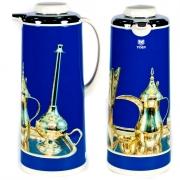 Термос метал. 1,6 л. со стеклянной колбой «Арабский мотивы» голубой, Tiger