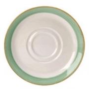 Блюдце «Рио Грин», фарфор, D=14.5см, белый,зелен.