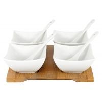 Набор для закуски: 4 салатника с 4 ложками на подносе в подарочной упаковке