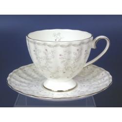 Н 1050021 Джулия ГРЭЙ 3 н-р 220мл чашек чайных высоких с блюдцем 6/12 (плат.лента)
