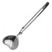 Сито-ложка для чая «Сердце», сталь нерж., H=20,L=155,B=41мм, серебрян.