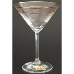 Рюмка для мартини 180 мл «Гала» панто + втертое золото +золотая полоска в декоре + золотая кайма