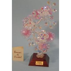 Бонсай с хризантемами розовый 22см