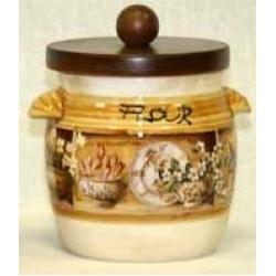 Банка для сыпучих продуктов с деревянной крышкой (мука) «Кантри» 0,75 л