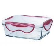 Контейнер стеклянный прямоугольный, 1 л, Clip Fresh