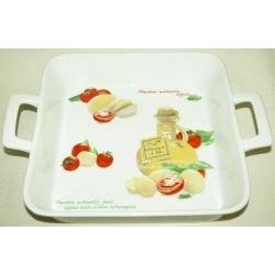 Блюдо прямоугольное с ручками «Помидоры и моцарелла» 32х25 см