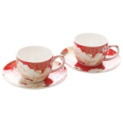 Набор: 2 чашки с блюдцами Кимоно (красный) в подарочной упаковке
