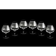 Набор: 6 хрустальных бокалов для коньяка Пиза серебро