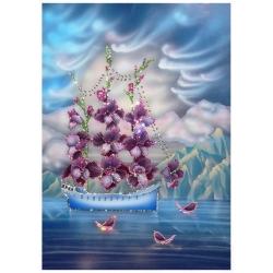 Корабль любви, 50х70 см, 2250 кристаллов