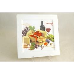 Блюдо квадратное «Сыр, вино и виноград» 24 см