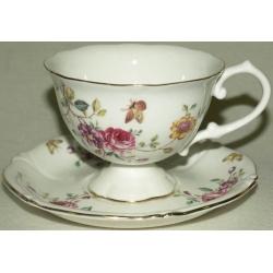 Чашка с блюдцем «Цветы и бабочки», 0.2 л