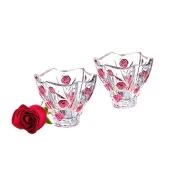 Набор из 2-х хрустальных салатников Красные розы