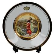 Тарелка декоративная 15 см белая с подставкой Прогулка в Кийото