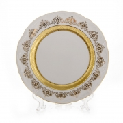 Набор тарелок «Лист белый Золото» 24см. 6шт.