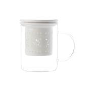 Кружка стекл с ситечком и крышкой из фарфора Лилия (белая) в подарочной упаковке