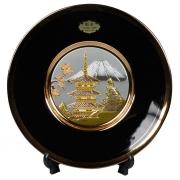 Тарелка декоративная 20 см черная с подставкой Пагода в сакуре (silver)