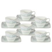 Набор 12 предметов: 6 чашек + 6 блюдец для кофе (голуб.) Инфанта
