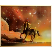 Конь на закате, 40х30 см, 1150 кристаллов