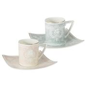 Набор: 2 чашки + 2 блюдца для кофе (роз. и голуб.) Инфанта