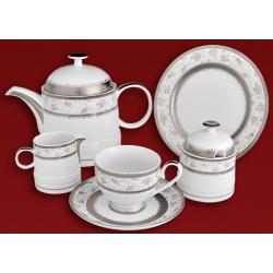 Чайный сервиз «Платиновая роза» на 6 персон 21 предмет