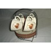 Чайный набор: 4 чашки и 4 блюдца на металлической подставке «Сардиния»