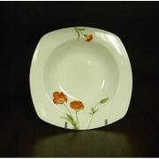 Набор 6 тарелок суповых квадратных 19,5см «Красный мак»