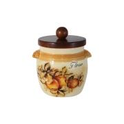 Банка для сыпучих продуктов с деревянной крышкой (мука) Зимние яблоки