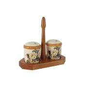 Набор для специй на деревянной подставке Роза и малина
