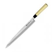 Нож янагиба для сашими «Масахиро»; сталь,дерево; L=410/275,B=32мм; металлич.,бежев.