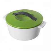 Кастрюля для запекания с крышкой, керамика, 800мл, D=16.4,H=10.7см, белый,зелен.