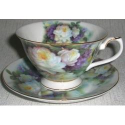 Чашка с блюдцем «Белые розы и сирень» 0,15 л