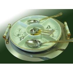 Набор для закуски с круглой фарфоровой вставкой