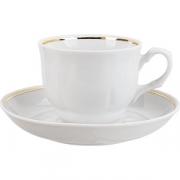 Пара чайная «Тюльпан» D=15см; белый, золотой
