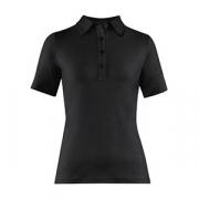 Рубашка поло женская,размер L, хлопок,эластан, черный