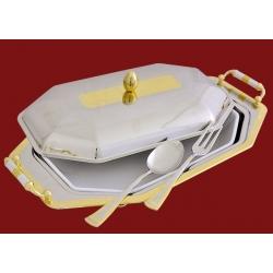 Блюдо с крышкой с фарфоровой вставкой с ложкой и вилкой 39х26см «Эра»