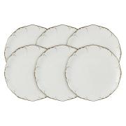 Набор из 6 закусочных тарелок Белый с золотом