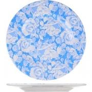 Тарелка мелкая D=25см; белый, голуб.