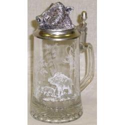 Пивная кружка стеклянная «Кабан» Объем 0,5 л