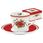 Чашка с блюдцем (белая) Рождественская коллекция