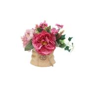 Декор.цветы Букет с пионами тём.розов. в керам.вазе