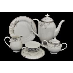 Чайный сервиз «Серебряные узоры» 21 предмет на 6 персон