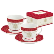 Набор: 2 чашки + 2 блюдца для кофе HERMITAGE в подарочной упаковке