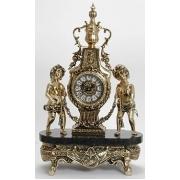 Часы дети с гирляндой на мраморе золотистый 48х27 см.