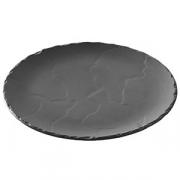 Тарелка мелк. «Базальт»; фарфор; D=25см; черный