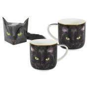 Кружка Чёрный кот в подарочной упаковке + брелок-хвостик