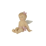 Статуэтка Девочка ангелочек (с розовым бантом)